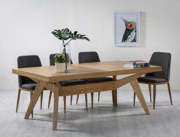 שולחן אוכל נפתח מעץ אלון מלא בשילוב פורניר אלון טבעי .