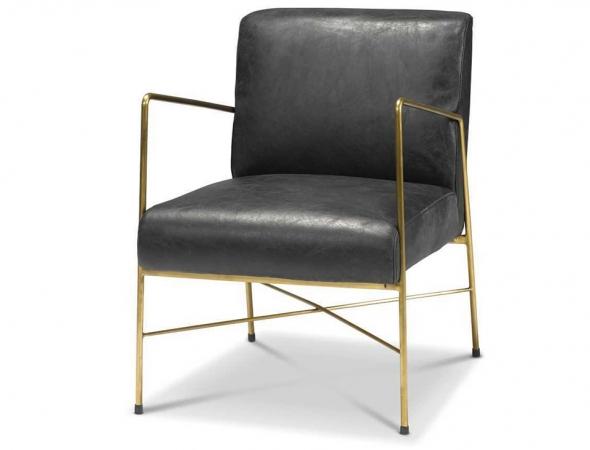 כורסא בעלת בסיס מתכת וריפוד עור