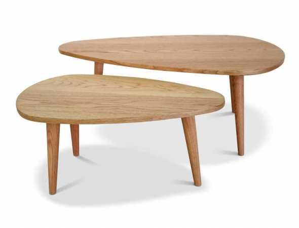 סט 2 שולחנות סלון עם פלטה עליונה עשויה MDF ורגלי עץ אלון.