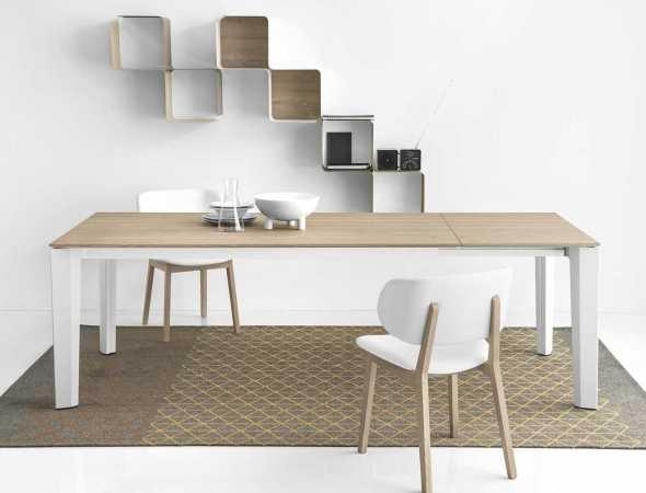 שולחן עץ וכסאות לבנים