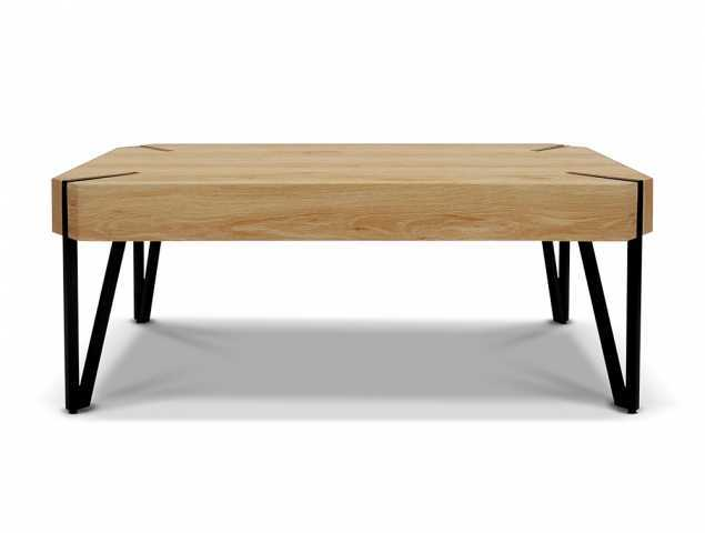 שולחן צד עשוי MDF עם בסיס מתכת שחורה.