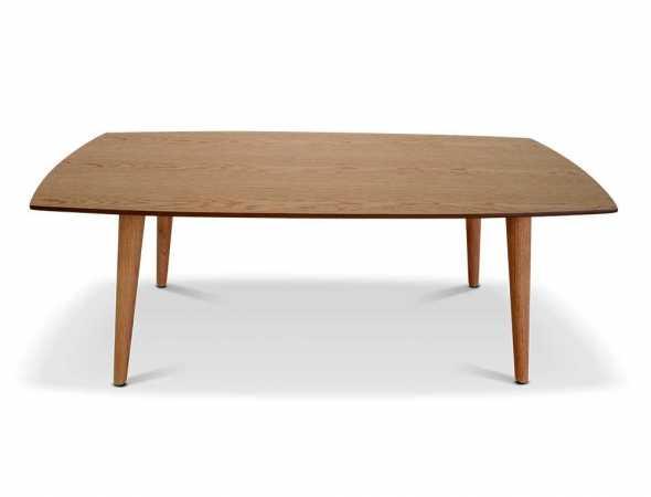 שולחן סלון בעל פלטה עליונה מ-MDF ורגלי עץ אלון. קיים בצבעים אלון/ לבן.
