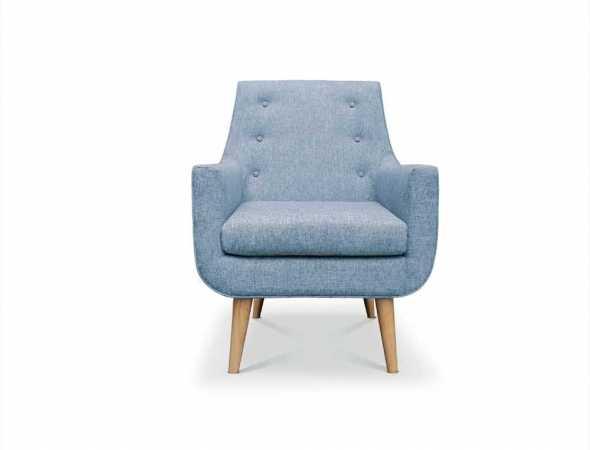 כורסא עם בסיס מעץ וריפוד בד