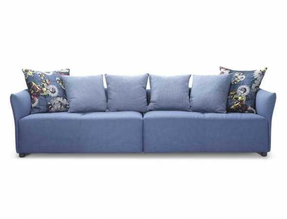 ספה מחולקת בריפוד בד, כוללת 4 כריות 55*55 ס