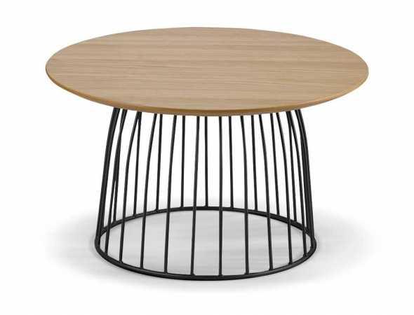 שולחן העשוי מפורניר אלון ורגלי מתכת.
