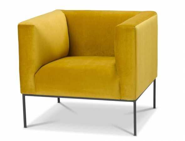 כורסא בריפוד קטיפה בגוון חרדל עם רגלי מתכת
