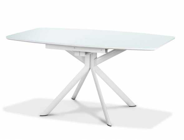 שולחן אוכל מלבני עם גימור שלייפלק לבן וזכוכית מחוסמת.