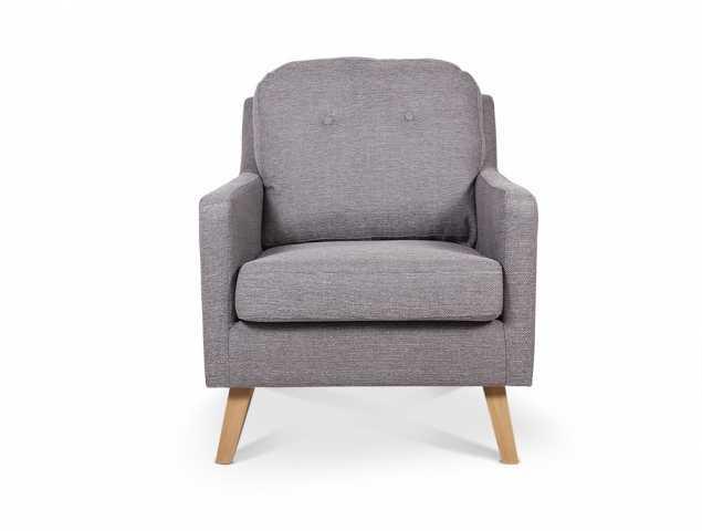 כורסא בריפוד בד ורגלי עץ בגוון אפור