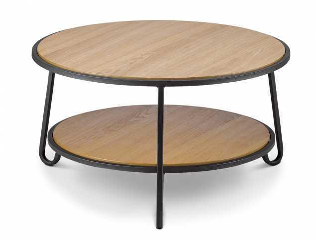 שולחן צד עגול העשוי פורניר אלון עם בסיס מתכת.