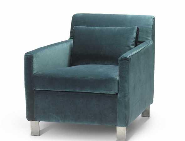 כורסא מבד בצבע טורקיז עם רגלי מתכת