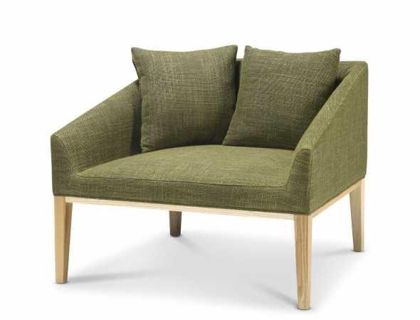 כורסא בריפוד בד בגוון ירוק חאקי עם בסיס עץ