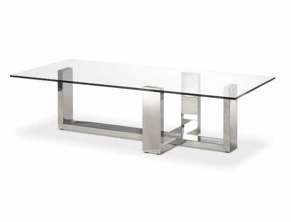 שולחן סלון בעל פלטת זכוכית קריסטל מחוסמת ומסגרת נירוסטה.