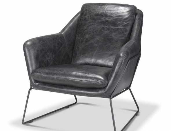 כורסא מעור עם בסיס מתכת