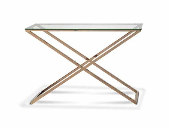 שולחן סלון מנירוסטה בצבע נחושת ומשטח עליון העשוי מזכוכית מחוסמת.