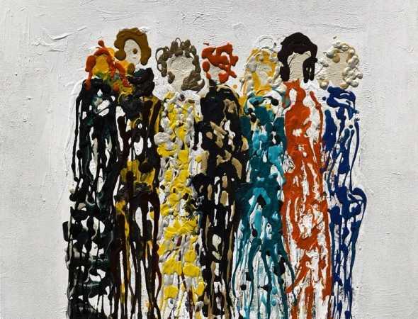 ציור אקריליק על בד בסגנון פיגורטיבי של גיטה לוי