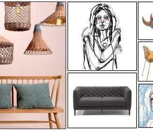 קבלו את הדנדשים- סדרת ציורים דיגיטליים של האמנית שחר אבנט, גופי תאורה קלועים, כיסאות מפוסלים ועוד