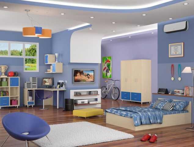 חדר ילדים תכלת ועץ