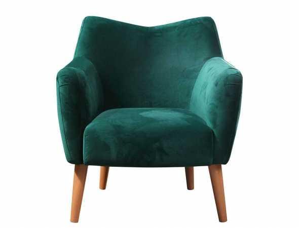 כורסא בריפוד בד עם רגלי עץ