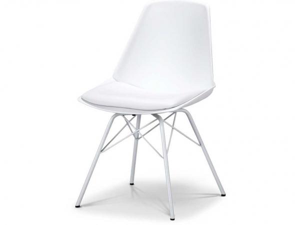 כסא בעל מושב בצבע לבן עם רגלי מתכת לבנות.