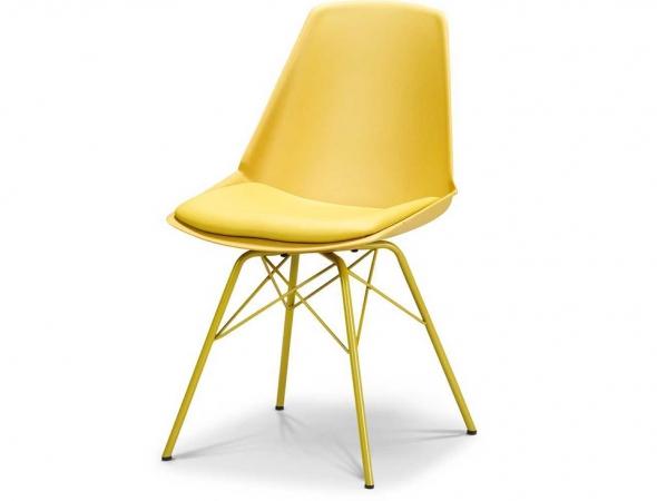 כסא בעל מושב בצבע צהוב עם רגלי מתכת צהובות.