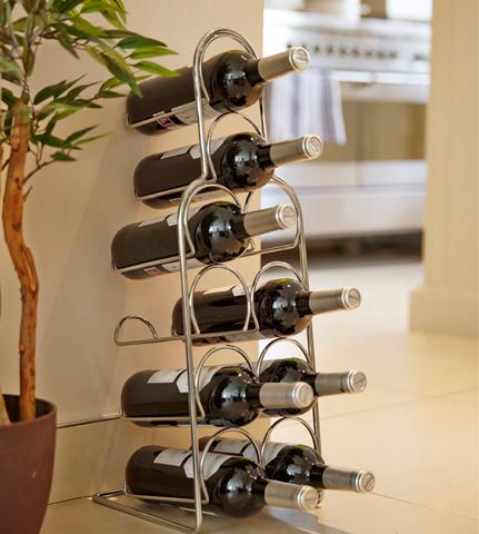מעמד המכיל 10 בקבוקי יין עשוי מכרום