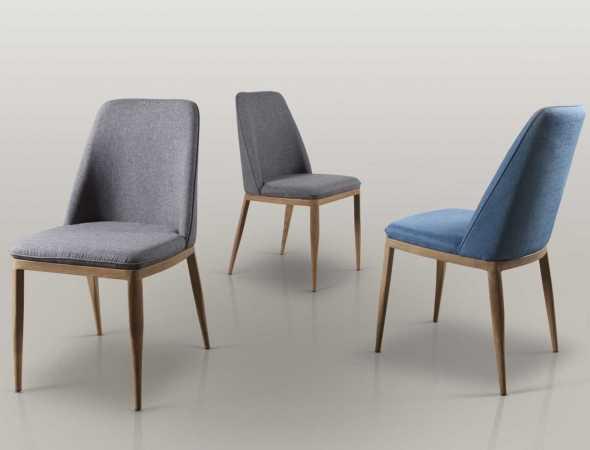 כיסא אוכל מרופד בבד סינתטי, שלד הכיסא עשוי מתכת בציפויי למינציה בדיגום עץ אלון טבעי. קיים במגוון מידות ובצבעים אפור כהה וכחול.