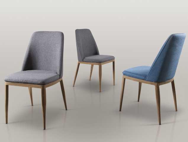 כיסא אוכל מרופד בבד סינתטי, שלד הכיסא עשוי מתכת בציפויי למינציה בדיגום עץ אלון טבעי.קיים במגוון מידות ובצבעים אפור כהה וכחול.