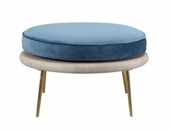 הדום בעל בסיס אלון, בשילוב רגל נירוסטה עם כרית מושב בצבע כחול