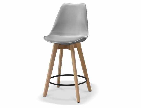 כיסא בר בעל מושב מפלסטיק ורגליים מעץ