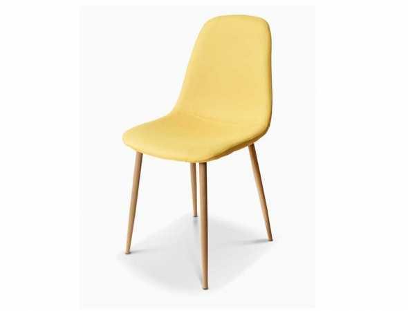 כסא בריפוד בד עם רגלי עץ