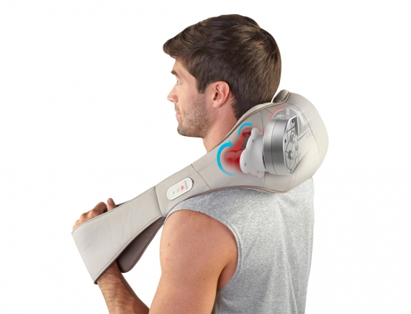 כרית שיאצו המיועדת לכל חלק בגוף, מכשיר עיסוי עם דגש על צוואר, כתפיים וגב בעל זוג ידיות אחיזה נוחות לעיסוי הגוף.