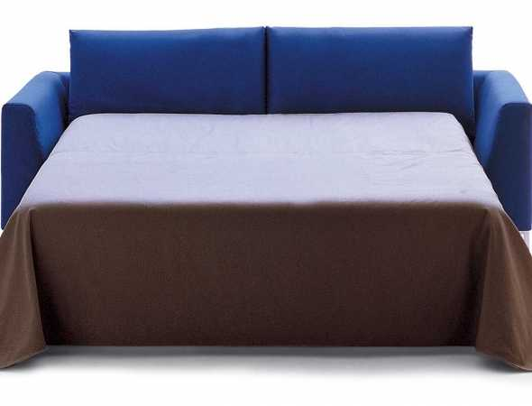ספה נפתחת עם מסגרת עץ ופלדה, ריפוד בד ומזרן קפיצים