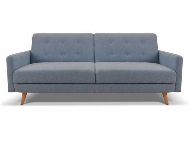 ספה הנפתחת למיטה בריפוד בד עם רגלי עץ בגוון טבעי, קיימת במגוון צבעים
