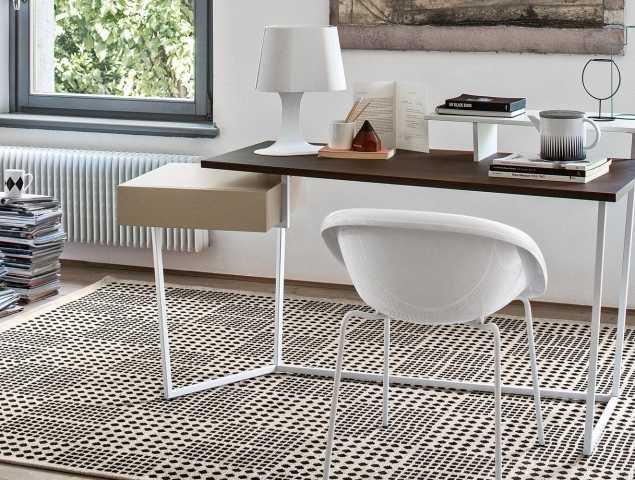 שולחן מחשב עץ רגלי מתכת
