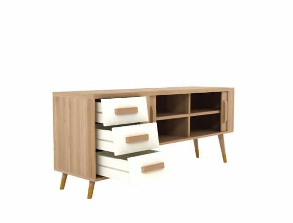 מזנון רטרו עשוי מעץ מלא בהשראת שנות ה-60 למרחב הביתי.  קומפקטי, פרקטי ונוח,עם מקומות אחסון רבים לשמירה על הסדר.