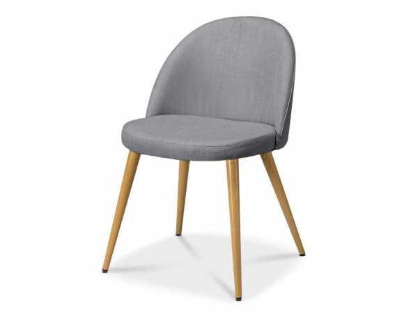 כסא בריפוד בד עם רגלי מתכת דמוי עץ בצבע אלון קיים במגוון צבעים