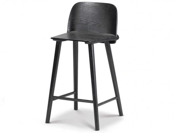 כסא בר עשוי ממושב פורניר לבנה בצבע שחור.