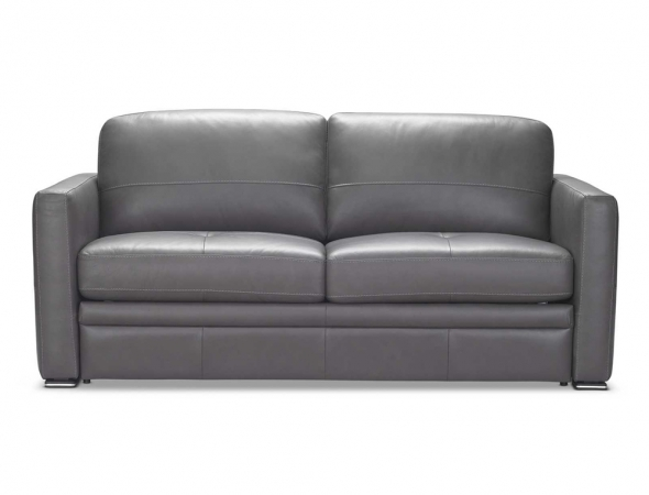 ספה נפתחת בריפוד אפור.