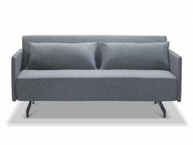 ספה נפתחת בריפוד בד אפור עם רגלי מתכת שחורות