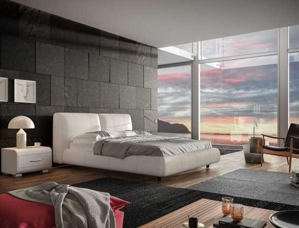 מיטה מעור משולב בגוון חום