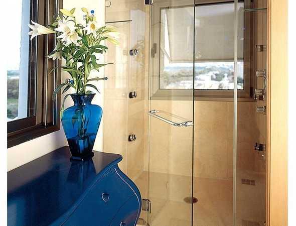 מקלחון חזית עם מתלה למגבות