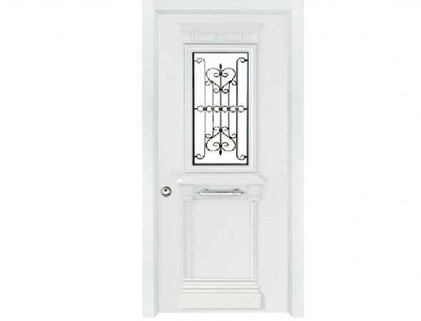 דלת כניסה מעוצבת המשלבת אלמנטים דקורטיביים מאלומיניום וחלונות מסורגים לצד ביטחון. דלת בעלת גימור חיצוני יוקרתי בצביעה אלקטרוסטטית בצבעים אפוקסיים מגורענים במבחר גוונים