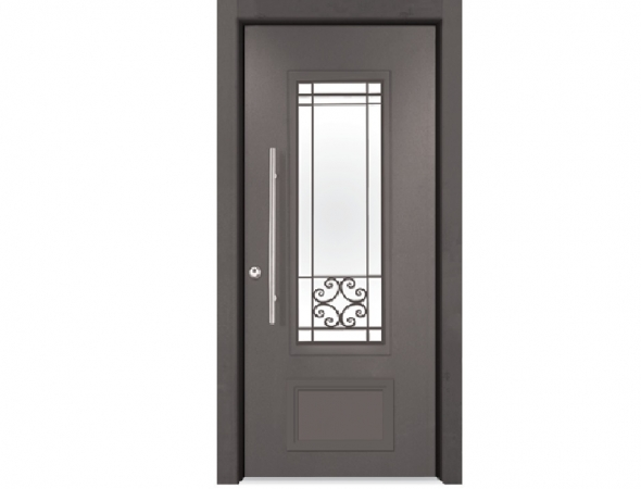 דלת כניסה מעוצבת המשלבת אלמנטים דקורטיביים מאלומיניום וחלונות מסורגים לצד ביטחון. דלת בעלת גימור חיצוני יוקרתי בצביעה אלקטרוסטטית בצבעים אפוקסיים מגורענים במבחר גוונים.