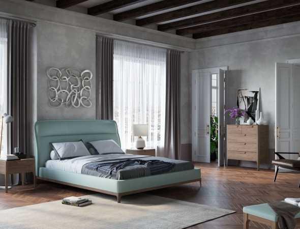 מיטה מעור משולב עם בסיס מעץ