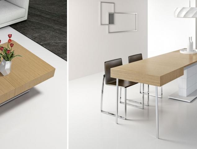 """שולחן סלון שהופך לשולחן אוכל בגודל 320 ס""""מ, יציב ונוח לאירוח של 12 איש. מחליף את פינת האוכל שהמקום שהיא תופסת רב והשימוש בה מועט."""