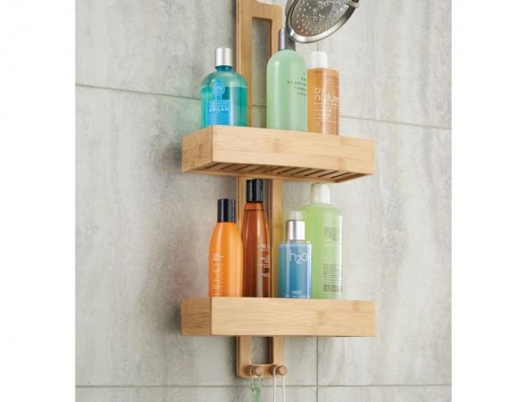 מתקן לשמפו עשוי מעץ טיק