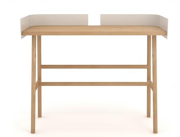 שולחן כתיבה עץ אלון עם מתכת צבועה