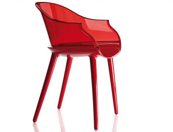 כסא בעל מושב ורגליים בפוליקרבונט מבריק, משענת גב בפוליקרבונט שקוף אדום