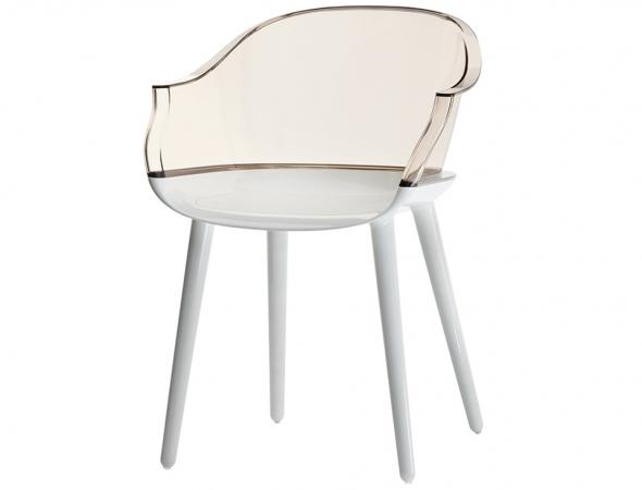 כסא בעל מושב ורגליים בפוליקרבונט מבריק, משענת גב בפוליקרבונט שקוף לבן