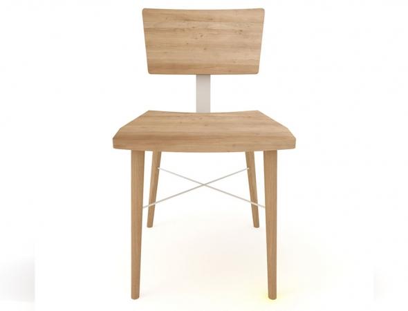 כסא מעץ בשילוב מתכת בעיצוב רטרו